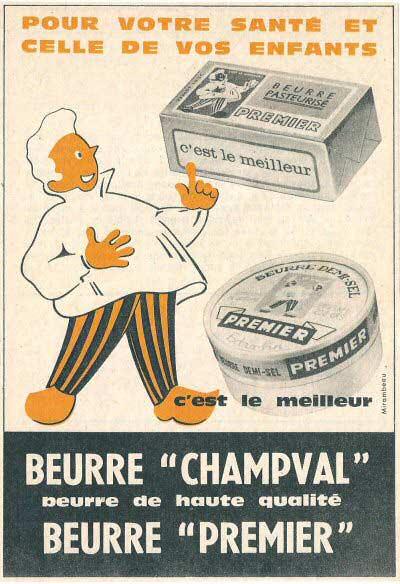 Acienne affiche publicitaire pour le beurre Champval
