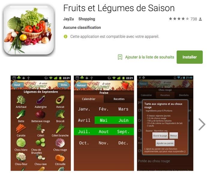 Capture d'écran de la page Google Play de l'application Fruits et Légumes de Saison