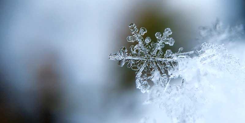 Photographie macro d'un flocon de neige en hiver
