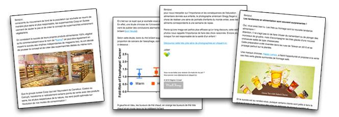 Alimentation positive : Exemple de la newsletter