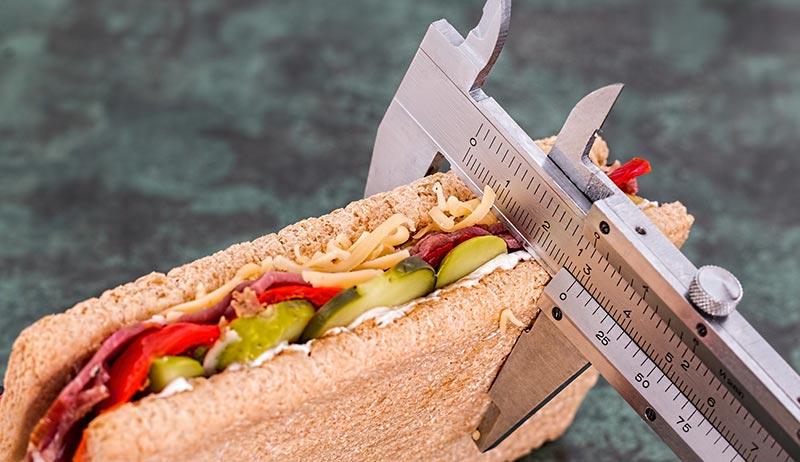Photographie en couleur d'un sandwich à base de pain complet, de concombre, de viande séchée et divers autres aliments, mesuré à l'aide d'une règle industrielle, afin de pouvoir mesurer les apports nutritionnels nécessaires chaque jour et notamment le volume d'aliments riches en fibres alimentaires à conqommer quotidiennement.