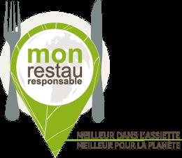 Logotype Mon Restau Responsable, meilleur dans l'assiette, meilleur pour la planète pour les cantines scolaires et la restauration collective.