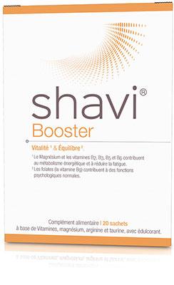 Boîte de Shavi Booster, le meilleur complément alimentaire naturel pour une cure de magnésium, afin d'éviter fatigue et stress
