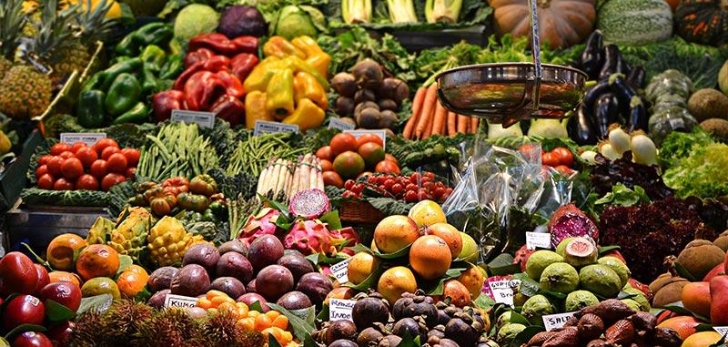 Photographie multicolore de l'étalage magnifique d'un primeur très bien achalandé avec de nombreux fruits et légumes variés. Manger équilibré est primordial en micronutrition.